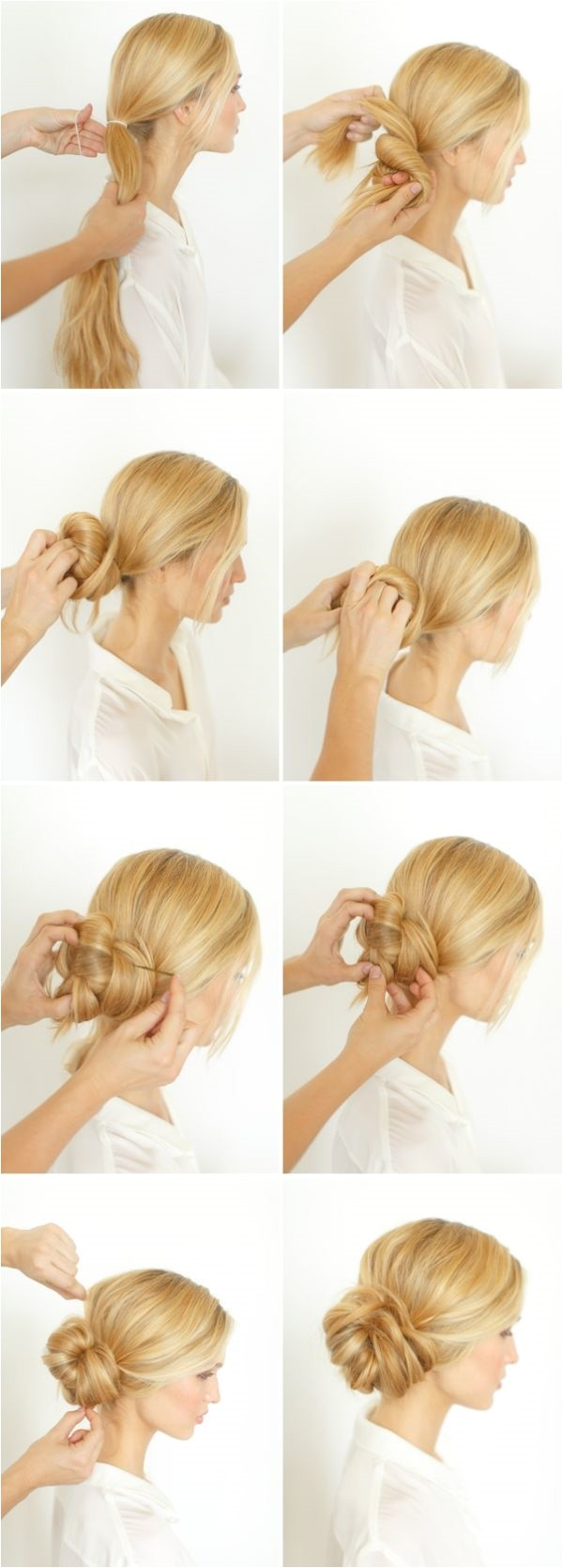 easy bun hairstyles for long hair and medium hair