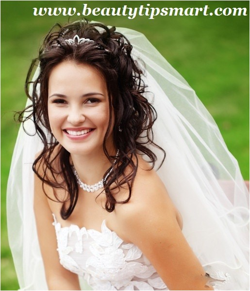 spring wedding hairstyles for long hair with veil and tiara
