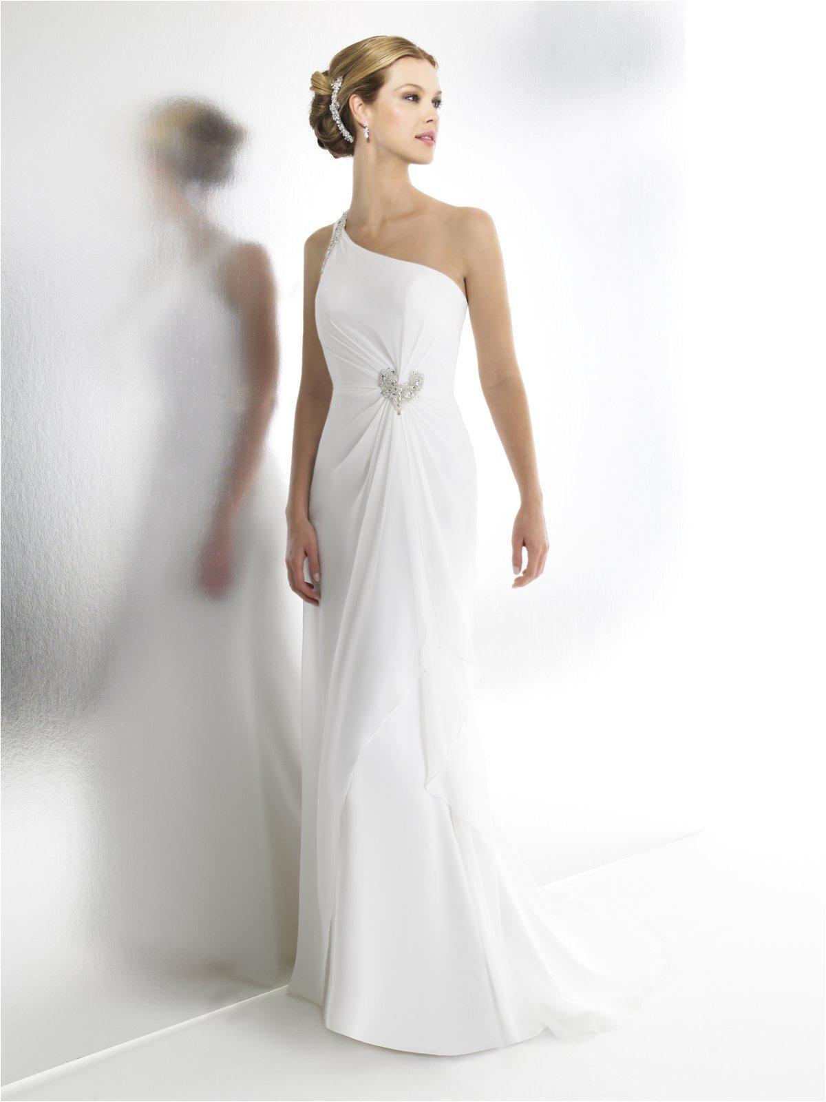 One Shoulder Wedding Dress Hairstyles Chiffon One Shoulder Wedding Dress Hairstyle for Women & Man