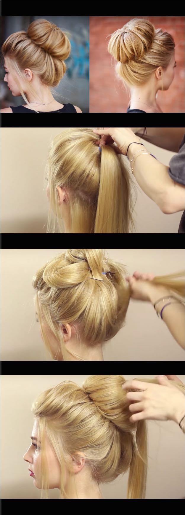 easy bun hairstyles for long straight hair