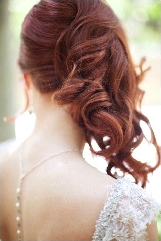 side swept waves curls wedding hairstyle 1