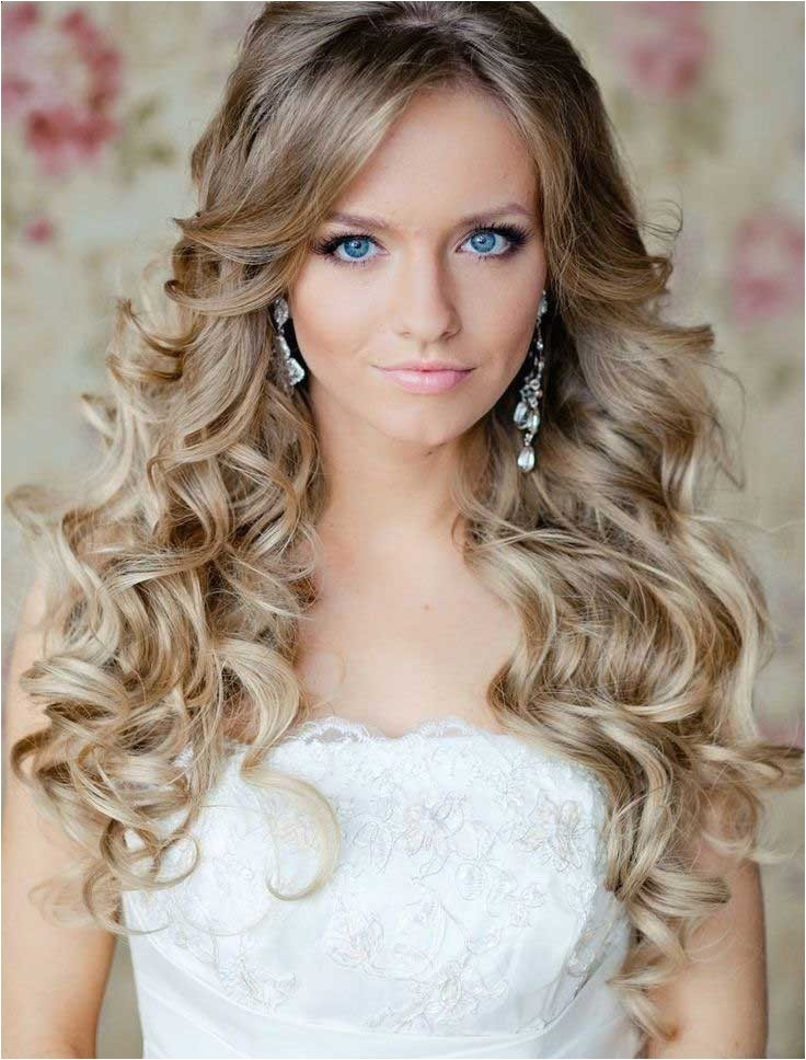 simple long bridal hairstyles for curly hair