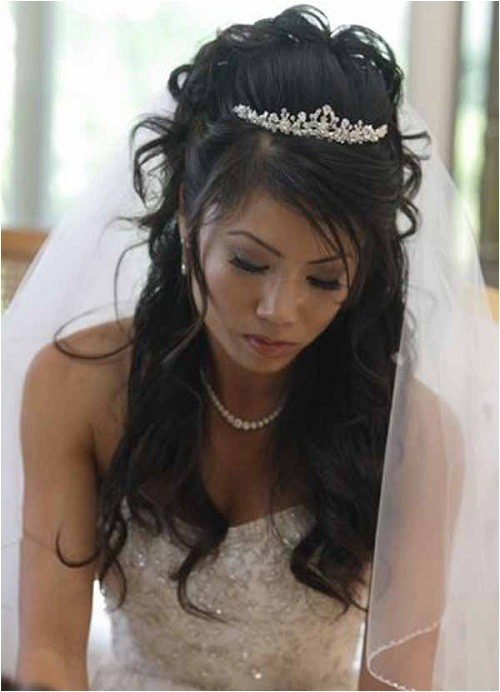 beautiful wedding hairstyles for long hair half up with veil