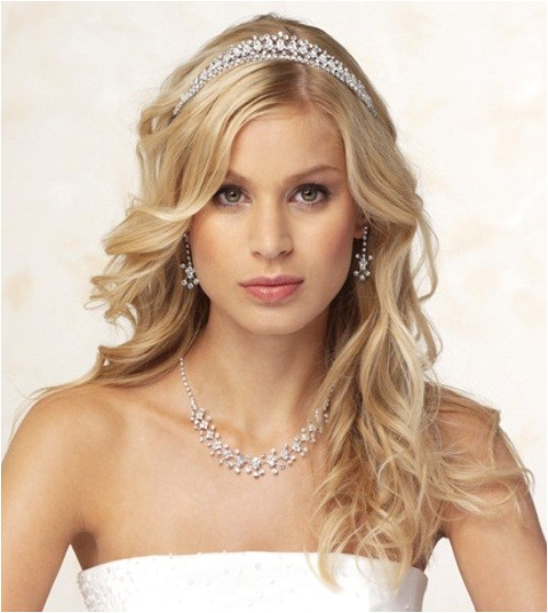 half up half down wedding hairstyles with tiara
