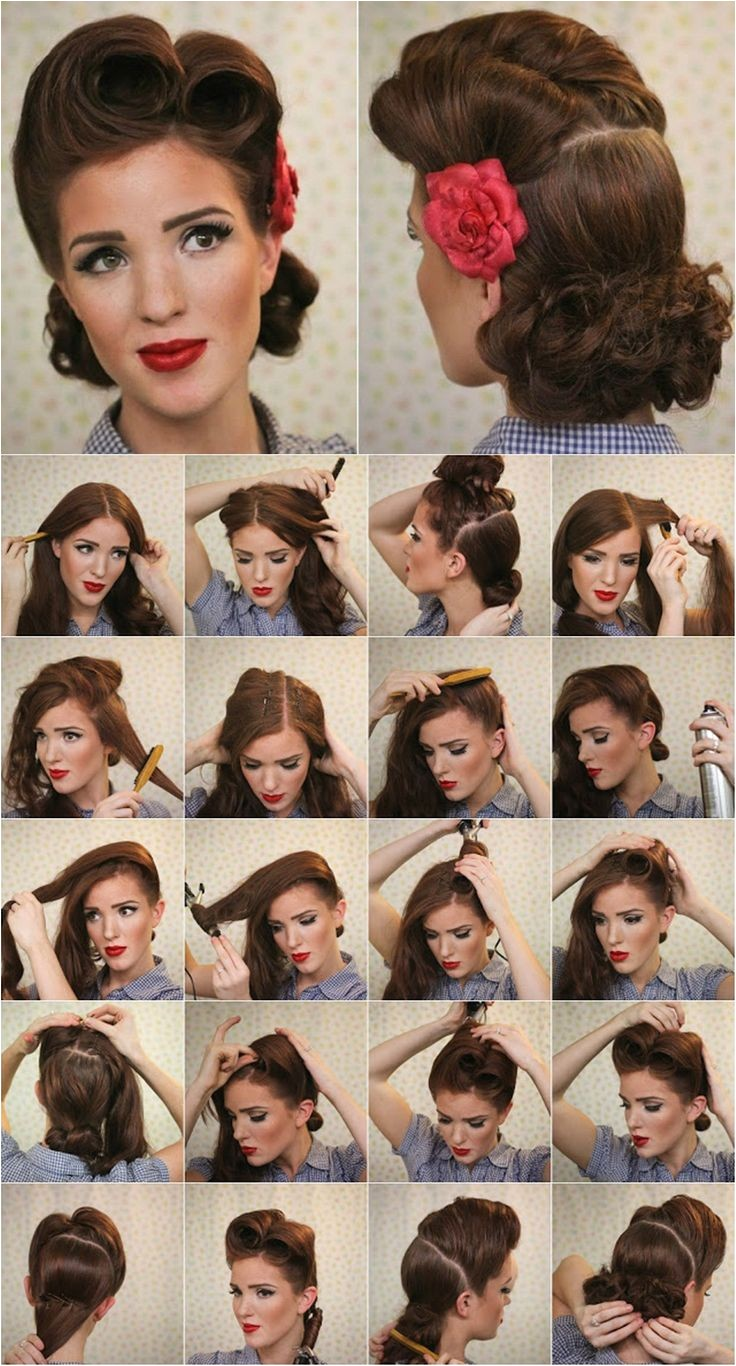 victory roll pin up tutorial Vintage Look Pin up Victory Rolls plete Hair Style Tutorial