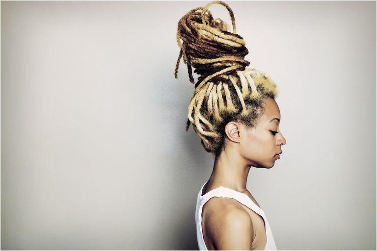 Woman with blonde locs locks dreadlocks