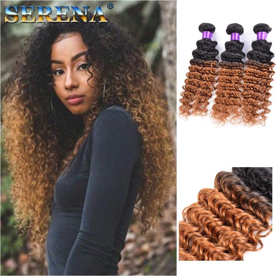 Dark Honey Blonde Hair Colorful 1B 30 Blonde Dark Root Ombre Brazilian Deep Wave Curly Human Hair Weave Weft Extensions 3 Bundles Best Hair Weaves Best