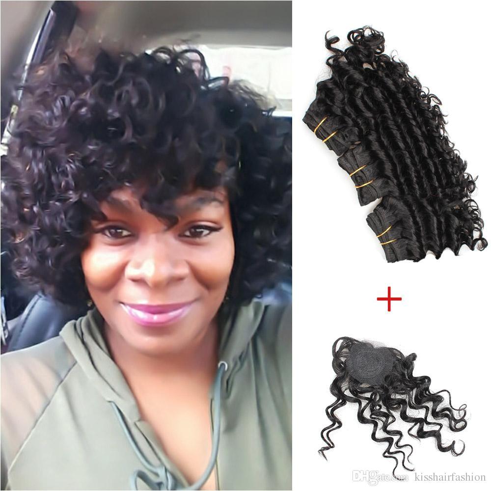 Kiss Hair 8 Inch Deep Wave Unprocessed Virgin Remy Human Hair Weave Short Bob Style 165g Brazilian Deep Curly Virgin Hair Natural Black Weave Hair Styles