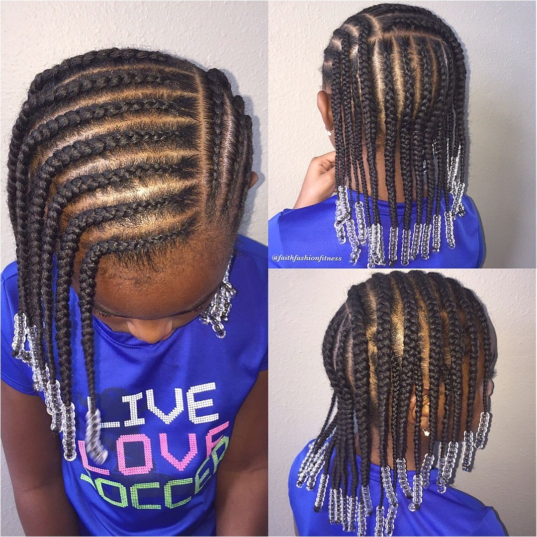 Natural hairstyle for girls Cornrows beads Natural hair Lil Girl Hairstyles Kids Braided Hairstyles
