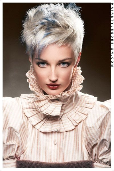 Short Hairstyles White and Blue Spiked up Pixie Cut