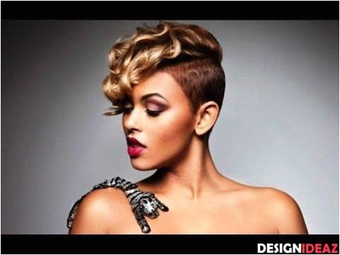 Short Shaved Hairstyles for Black Women 5 Black and Blonde Curly Mohawk Haircut for Black Women
