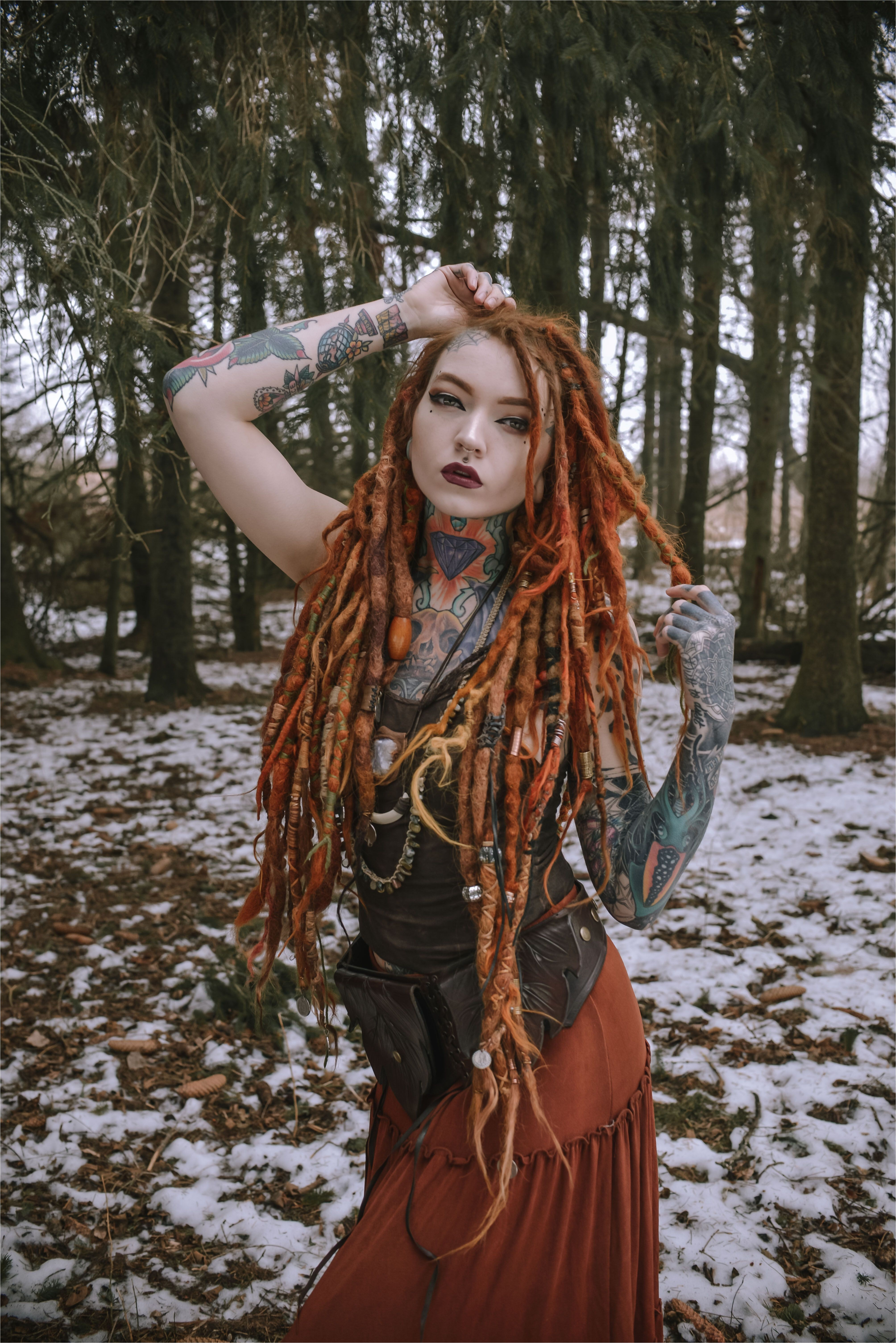 hair dreads dreadstyles dreadlocks girlswithdreads tattooed extensions viking