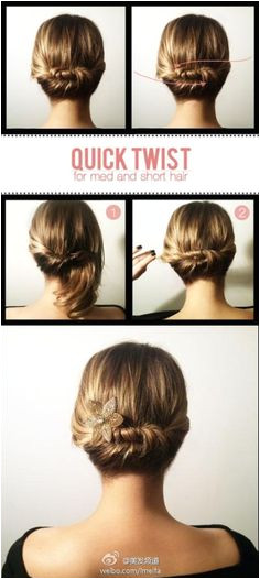Cute updo for shorter hair styles Quick Updo Easy Updo Easy Hairstyle Short