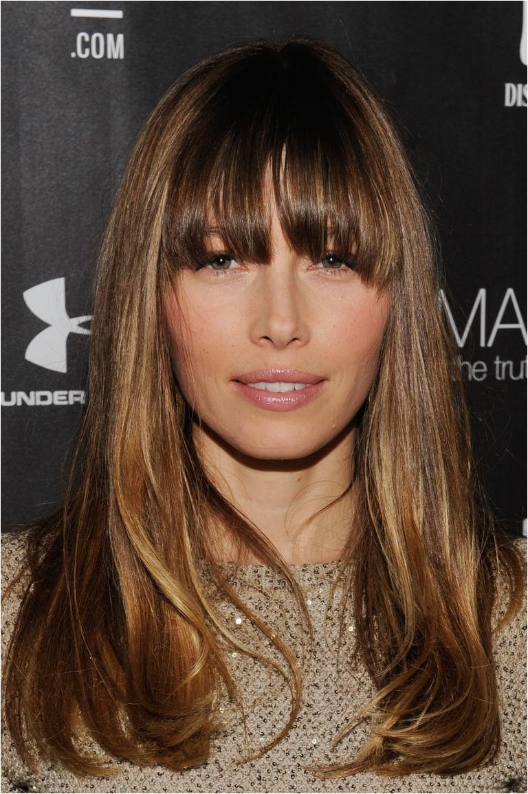 Jessica Biel with long hair with bangs