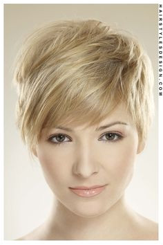 Delicate pixie cut with soft blonde colouring This is a really cute look as this woman s short layered hair has been brushed over at the front of the face