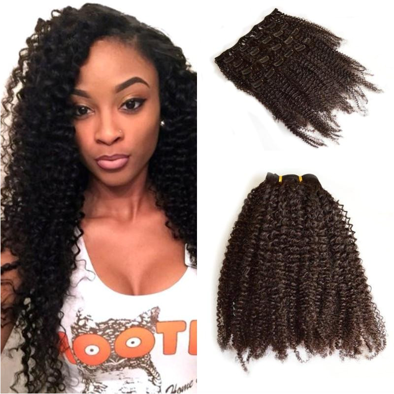 Malaysian Human Hair Afro Kinky Curly Clip Ins Extension 4b 4c Kinky Curly Clip Ins For Black Women FDSHINE HAIR Glue In Hair Extensions Uk Weft Hair