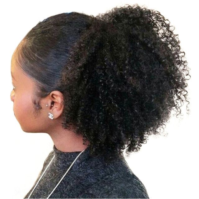 Mongolian Afro Kinky Curly Hair Ponytail 4B 4C 1 Piece Clip In Ponytails Human Hair Extensions
