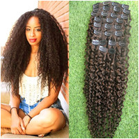 """New Product Brown Black Blonde Human Clip in Hair Extensions 9pcs Brazilian Kinky Curly Clip in Hair Extensions 100g kinky afro hair 18 24"""""""