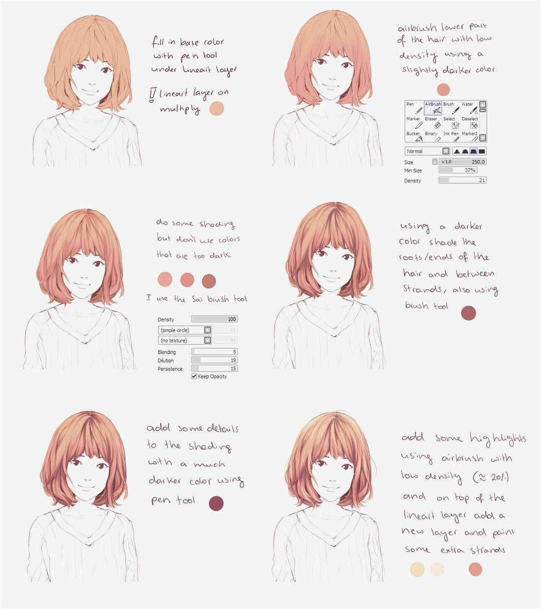 Anime Hairstyle Maker This is for Paint tool Sai A Small Hair Coloring Tutorial I Hope