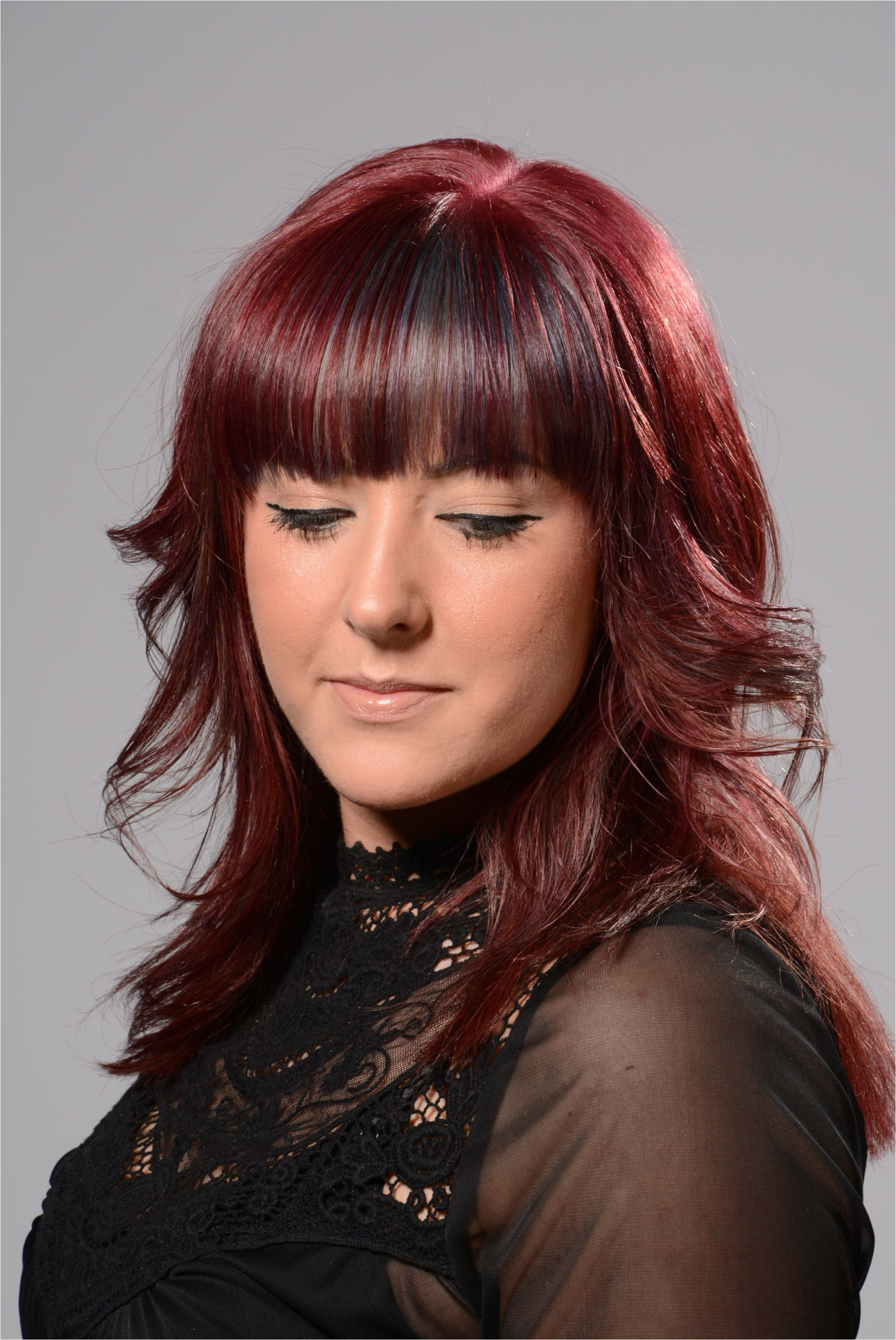 Fringes are bang on trend this winter Coloured cut and styled by Derby College hair student graphed by Derby College Art and Design student