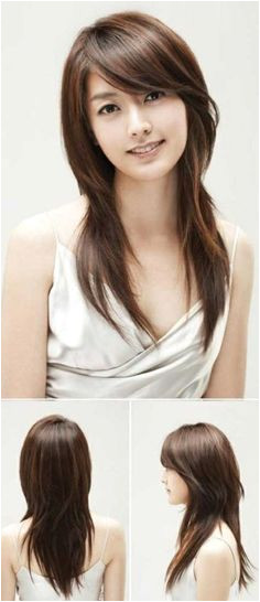 Asian Straight Layered Hair With Side Bangs Asian Side Swept Bangs New Straight Long Layered Haircuts With Side Swept Bangs New Design InspirationStraight