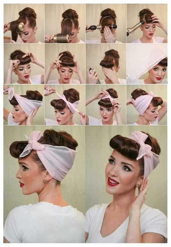 Coiffure avec un foulard ou bandana fa§on pin up rockabilly des années 50 Pin Up Pinterest