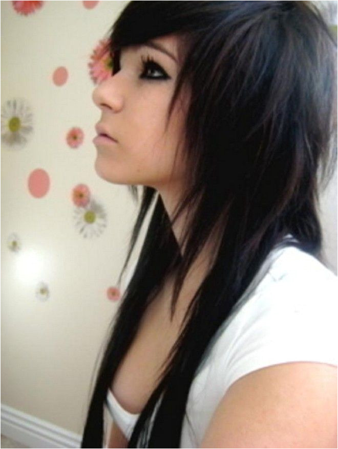 punk hair mullet back girl long Google Search Long Emo Hair Black Emo Hair