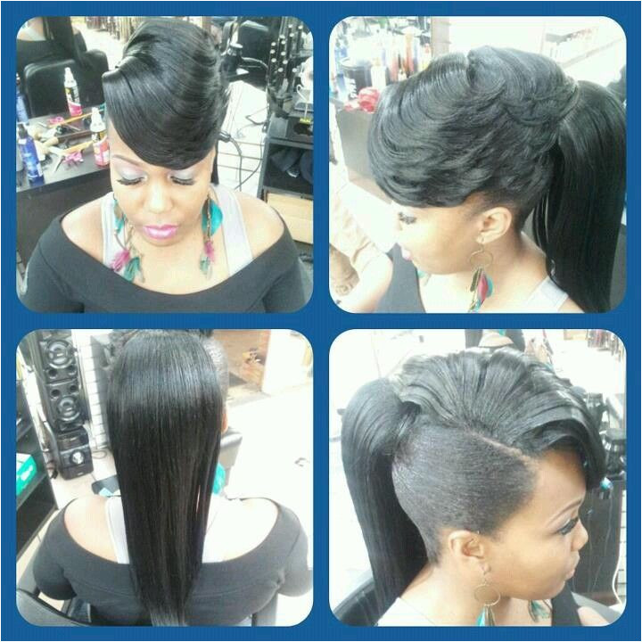 Pony with side swept bangs dope I would probably bun it up really nice though hair Pinterest