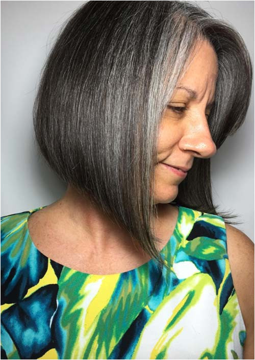 Haircuts & Hairstyles for Women Over 50 Angled Grey Cut