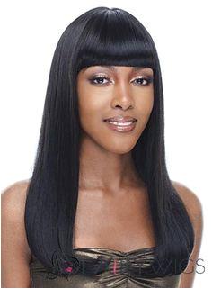Wig line Medium Wavy Black Full Bang African American Wigs for Women 18 Inch