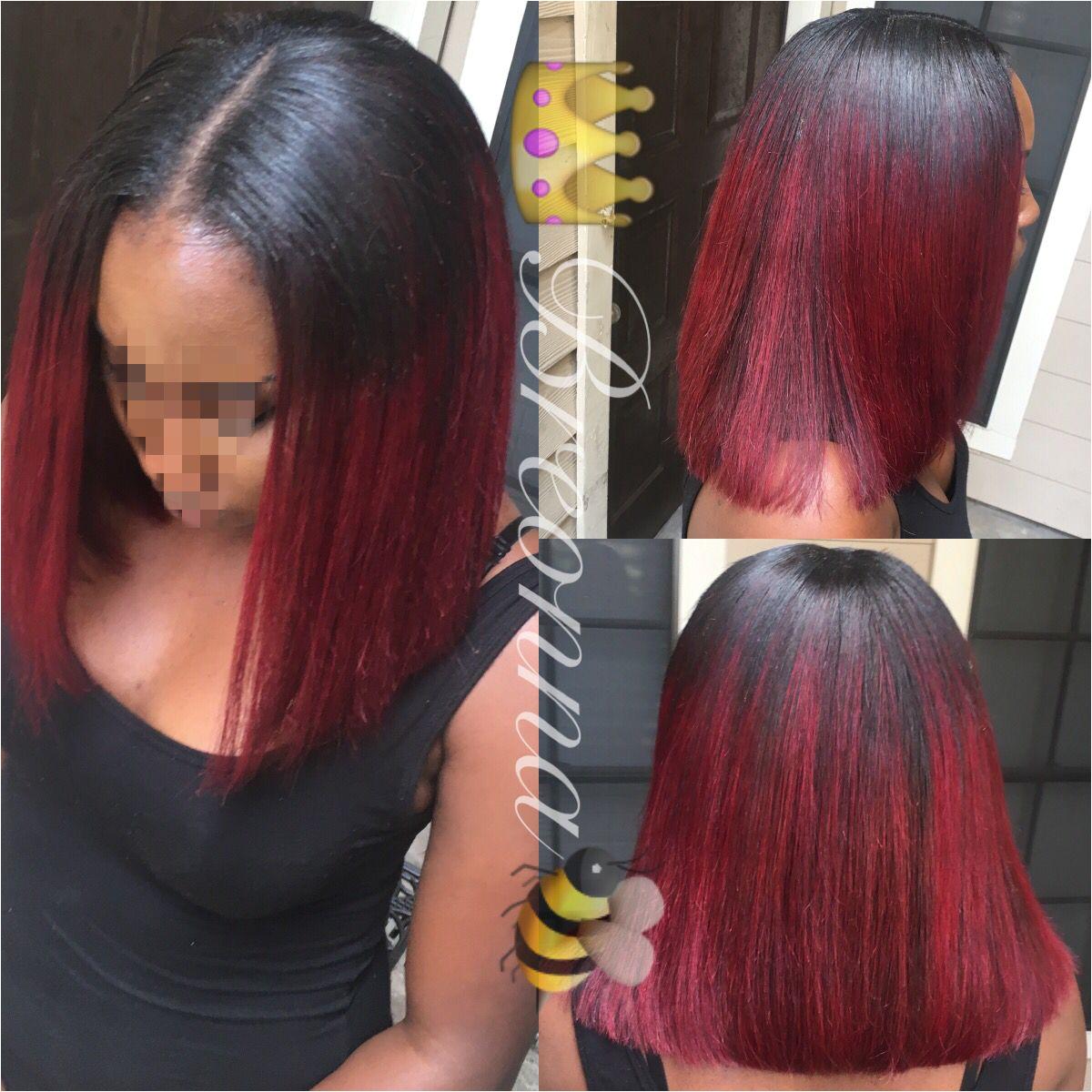 Blunt cut bob with red ombré Blunt Cuts Blunt Bob Short Black Hairstyles