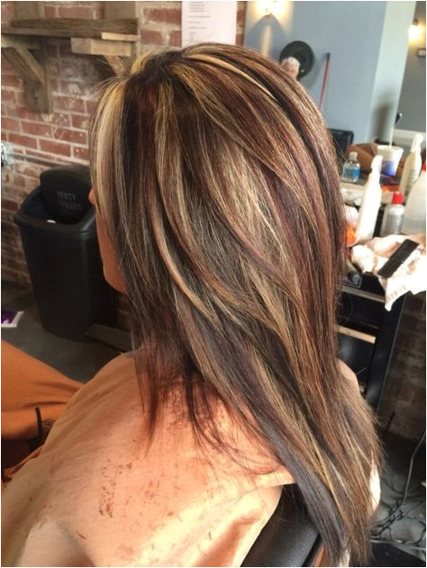 Dark brown blonde and red highlights and lowlights by tisha
