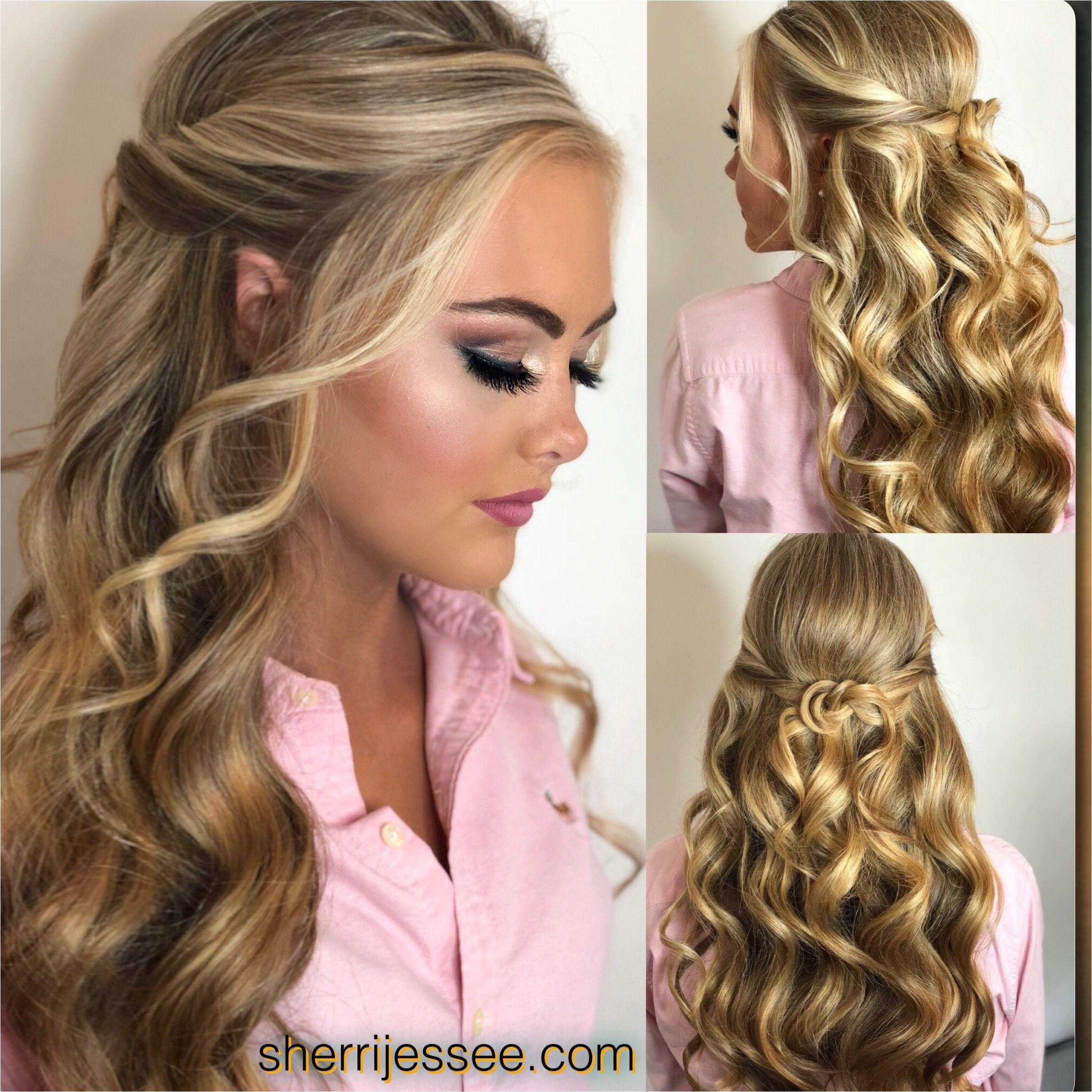 beautiful blonde halfup pageanthair beautifulmakeup promhair wavyhair curlyhair