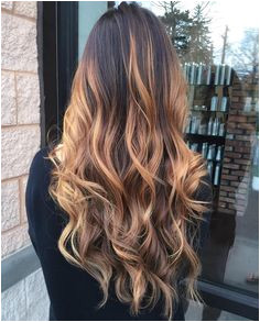 long curly hairstyle dirty blonde honey caramel balayage dark root