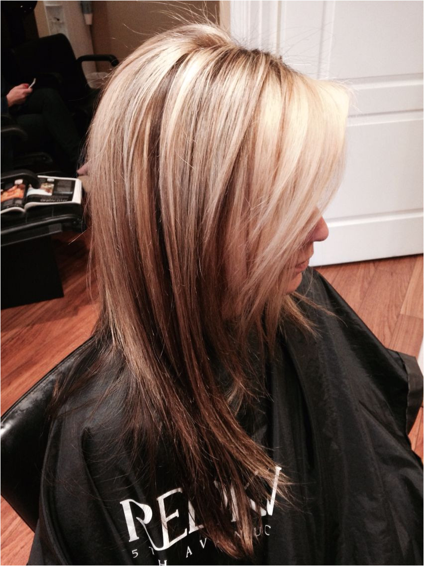 Blonde highlights and lowlights with dark underneath