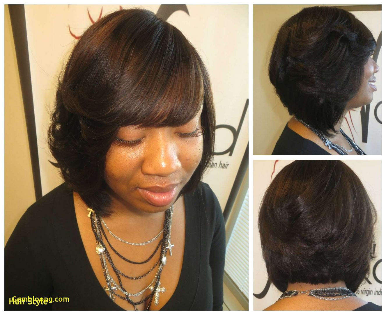 groove of weave in a bob hairstyle