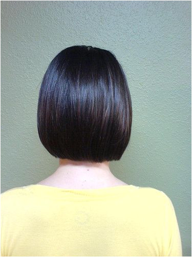 Back Hairstyle View Bob Haircut Back view of a one length bob hairstyle photo