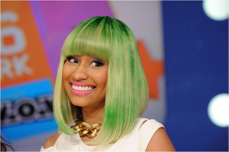 Nicki Minaj in Green Tinted Bob