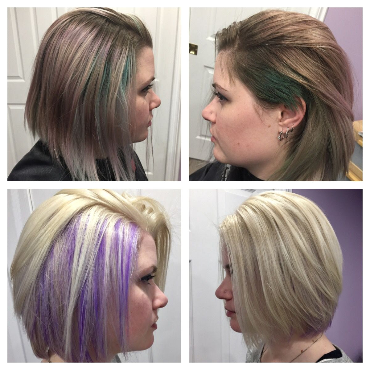 Hidden purple highlights under platinum blonde hair Bob haircut with layers in the back
