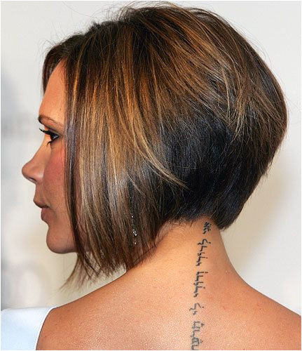 sleek and doesn t smoothly transition to longer in the front There s a point where it jumps to longer Celebrity Victoria Beckham Stacked Bob Haircut