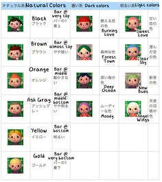Hair Guide Animal Crossing 3DS New Leaf Animal Crossing Wild World Animal Crossing