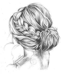 Drawing woman girl hair reference artwork drawing Hair Drawings Cute Drawings