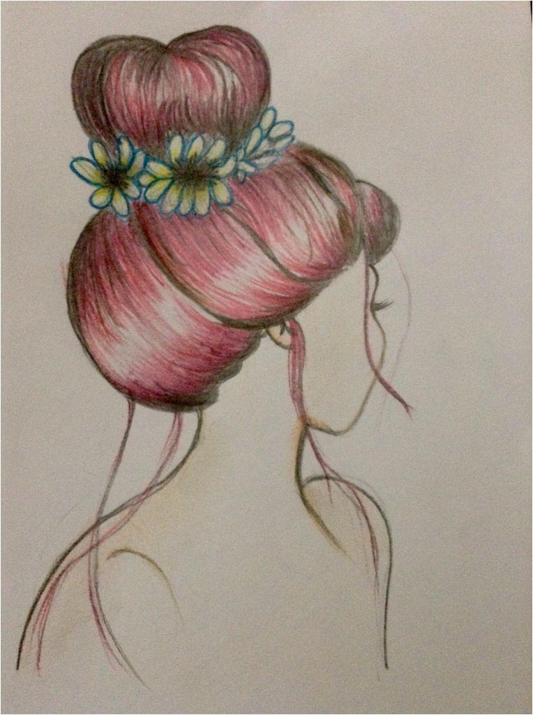Hair bun and flower drawing by me hair bun hairbun topknot redhair hairdrawing drawing sketch