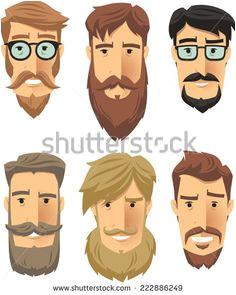 Hipster men wearing cool beard styles Vector illustration cartoon