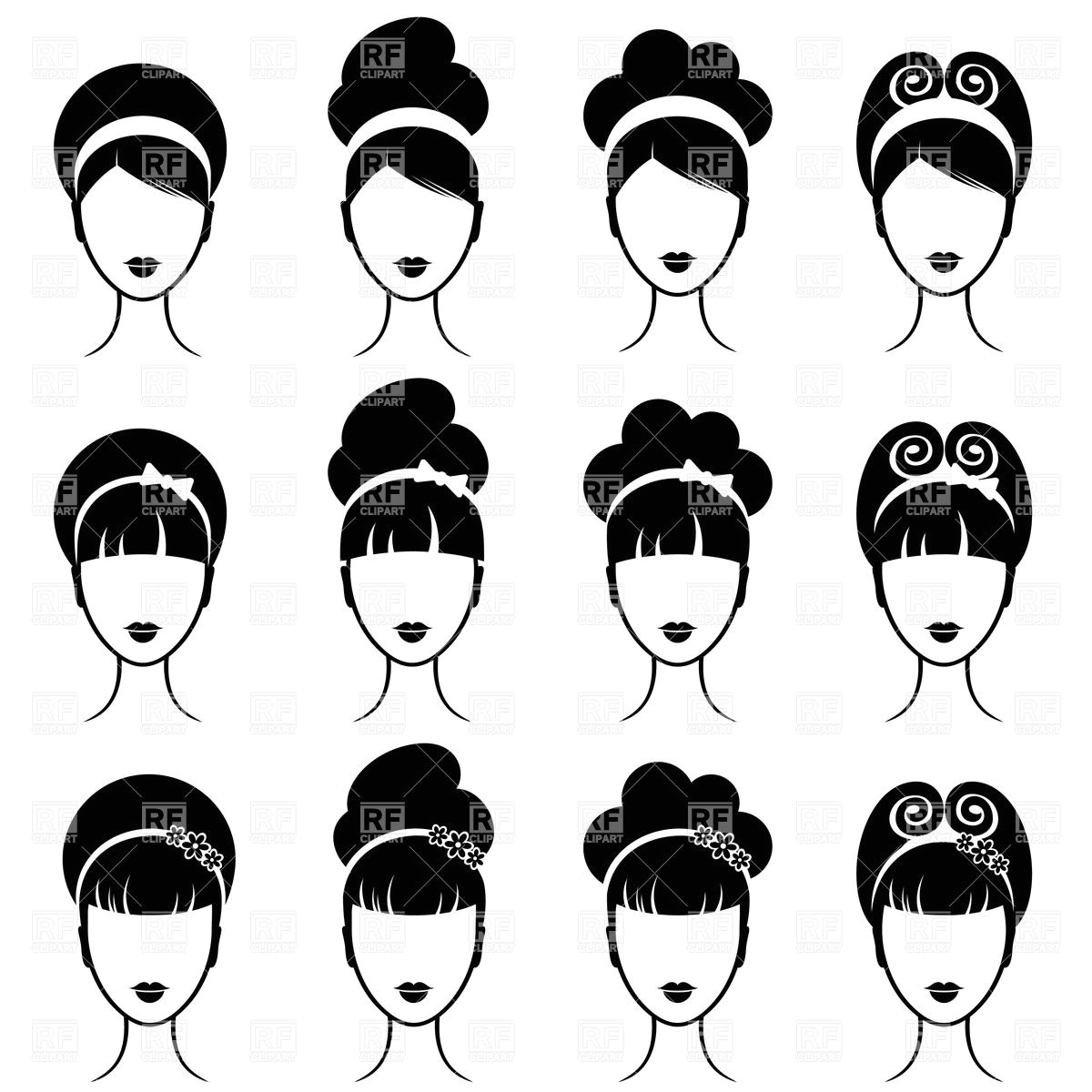 retro womens hairstyle Download Royalty free Vector File EPS