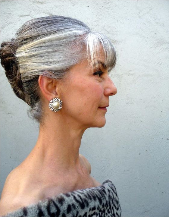 Makes me wonder if it is time for bangs grey hair updo