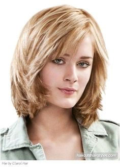 medium hairstyles for thick hair and round faces