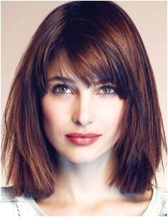 straight medium length hairstyle for square face