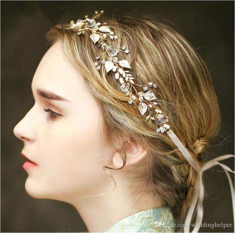 Vintage Wedding Bridal Crystal Headband Ribbon Rhinestone Crown Tiara Hair Band Jewelry Gold Leaf Pearl Hair Accessories Headdress Piece Wedding Brooches
