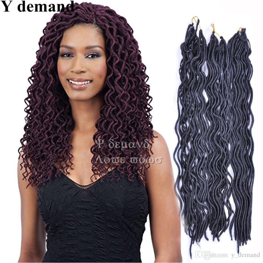 2019 24 Roots Synthetic Wavy Faux Locs Curly Crochet Hair Faux Lock Wavy Dreadlocks Soft Locks Crochet Twist Braids Hair Extension From Y demand